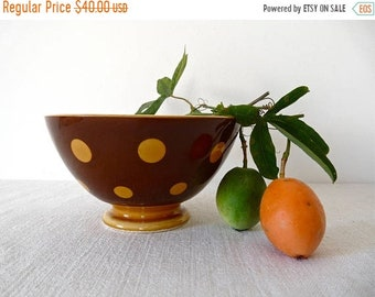 50% DISCOUNT BIG Cafe Au Lait  French Vintage  Bowl - Brow Polka Dots Pink French Coffee - French Farmhouse  french kitchen, french country