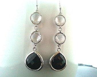 Modern Clear in Black Silver Earrings ,Drop, Dangle, Glass Earrings, bridesmaid gifts,Wedding jewelry