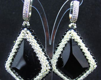 FREE SHIPPING WORLDWIDE  Elegant rich earrings of beads and natural stone obsidian