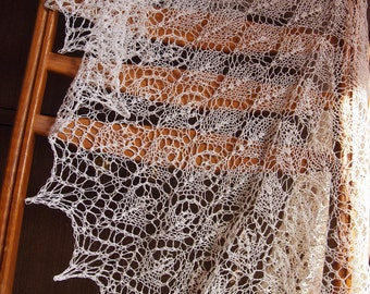 FREE SHIPPING - Dusty White Linen Shawl,Hand Knit Linen Shawl, Women Warm Gift, Any Color Linen Knitted Shawl Made to order