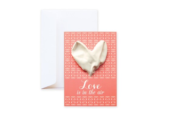 Balloon Greeting Card Love is in the Air | Valentine card | incl. envelope | feat. Abstract Graphic Pattern & Heart Balloon | newly weds