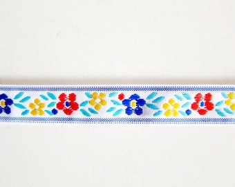 Scandinavian Floral Sewing Trim - Jacquard Ribbon - For Sewing / Embellishing / Packaging