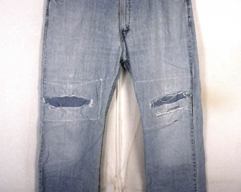 vtg 90s Levis Silvertab rugged True Boot Denim Jeans Patches rough look 38 X 32