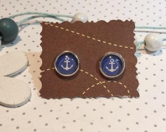 Anchor marine Stud Earrings cabochon