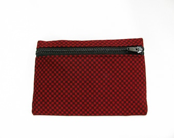 Medium Pouch- Dark red and black checked cotton