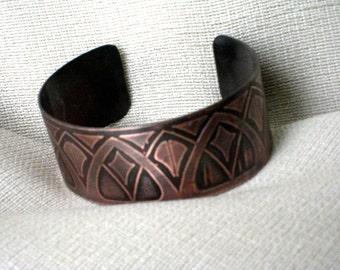 Art Deco Copper Cuff -  Handmade - One of a kind - Original pattern
