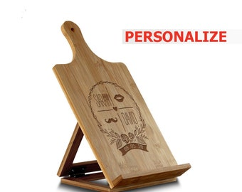 PERSONALIZED- kitchen book/Tablet/I pad holder stand for recipe books and cook books-Bamboo Standing Chef's Easel