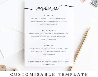 Personalized menu etsy diy printable wedding menu template calligraphy wedding menu card wedding menu printable elegant junglespirit Images
