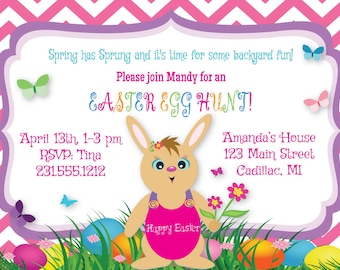 Easter Egg Hunt Invitation, Kids Easter Party Invitation