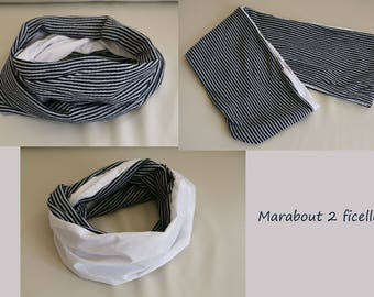 Double blue striped sailor spirit scarf Navy and white cotton - jersey