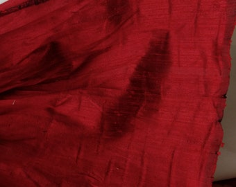 "Free Shipping, Dupioni Silk Fabric Red, 100% Silk, 52"" sold by the yard"