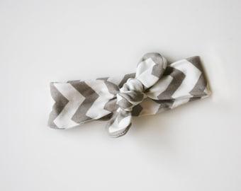 Organic Chevron Baby Headband - Top-knot headband interlock knit , Knotted Baby Headband in Gray and White