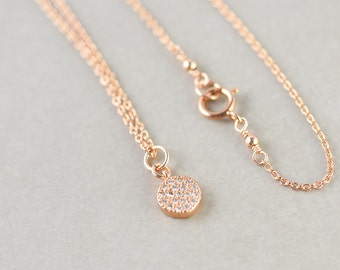 Rose Gold Disc Charm Necklace, CZ Jewelry, Minimal Jewelry, Simple