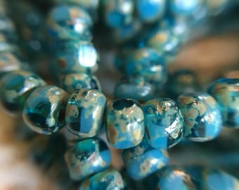 4x3mm trica beads, blue turquoise round faceted czech beads with picasso finish