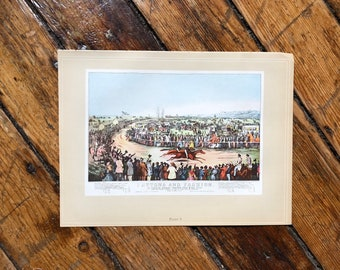 c. 1952 - HORSE RACING PRINT - original vintage lithograph - Currier & Ives print -  thoroughbred race - race horse - horse racing - Derby