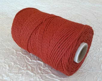 Cotton cord. Twisted cotton cord. Cotton rope. Macrame rope - spool of 100% cotton rope - 3 mm - red bismarck.