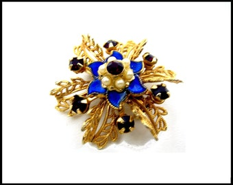 Red Rhinestone & Pearl Brooch, Gold Filigree and Blue Enamel, Red White and Blue Brooch,  Gift,  Gift for Her
