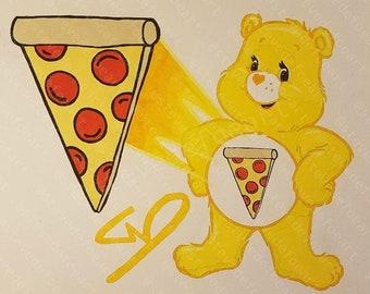 Pizza Bear 8x10 Print Framed