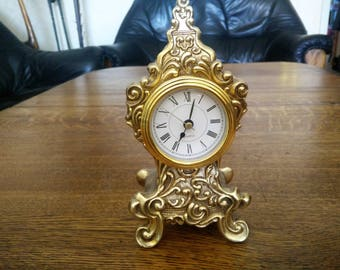 Antique Brass optics clock case for mantel clock,vintage - table clock in Baroque style, home decor.