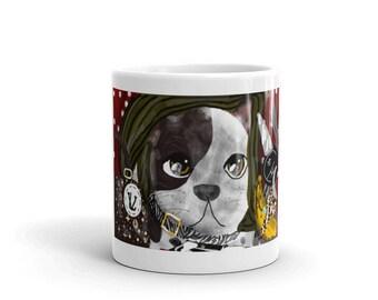 Printed Mug - Original Design - Digital Drawing of a cute puppy dog - Art By Sarah E Smith, Autistic Savant Artist - 'Spot's First Christmas