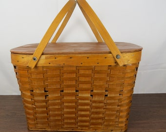 Large Picnic Basket, Pie and Picnic Basket with Handles, Farmhouse Style