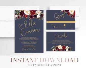 Printable Floral Wedding Invitation // Invitation Suite // Marsala Navy Wedding Invitation // Stationery // Gold Burgundy // Templett