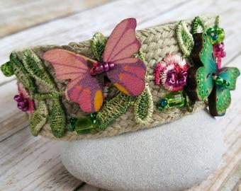 Butterfly Cuff Bracelet / Bracelet Cuff / Butterfly Bracelet / Butterfly Cuff / Flower Bracelet / Flower Cuff Bracelet / Beaded Cuff