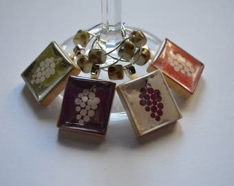 Grape Cluster Images on Vintage Scrabble Tiles Wine Charms ~ Set of 4 on Ring Holder ~ Wine Lover's Gift
