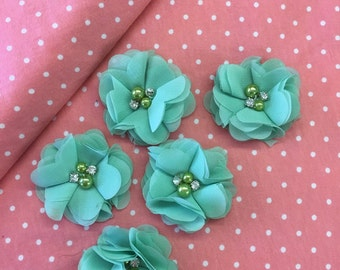 "2.5"" Mint Chiffon Flower with Pearl and Rhinestone Center set of 5"