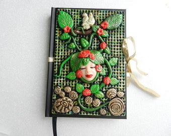 JOURNAL - Romantic notebook with polymer clay decorated cover