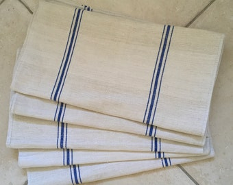 NS1817 Natural Limestone Blue StripeVintage Linen Grainsack Fabric StripedSewing Projects Upholstery Bath Mat or Laundry Bag