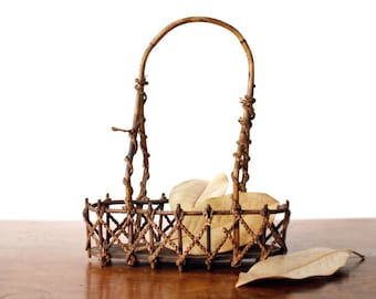Antique Edwardian era basket, rustic vintage bentwood and rope, braided grasses and twig art, c. 1910s, brown, cottage chic, art nouveau