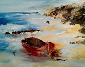 Boat fails the Wild Coast painting has oil knife