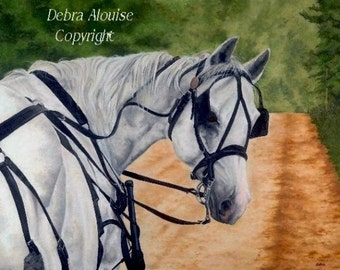 Driving Josh Down a Dirt Road Driving Horse Landscape Original Equine Art Print by debra alouise Artist