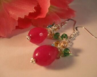 Gemstone Cluster Earrings, gemstone earrings, cluster earrings, crystal earrings, dangle earrings, gemstone cluster, drop earrings, cluster