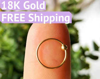 18K gold nose ring nose hoop gold nose studs 18K small nose ring tiny nose rings gold nose rings nose jewelry nose piercing gold nose stud