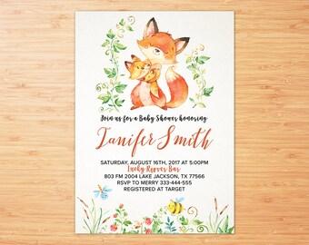Fox Baby Shower Invitation, Rustic, Whimsical, Girl Fox Baby Shower Invitation, Girl Fox Baby Shower Invitation, Woodland Invitation