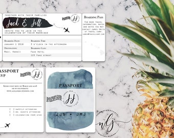 Black & White Blue Watercolor Boarding Pass Passport RSVP Destination Wedding Invitation Suite -- Digital File Only (Printable PDF and JPG)