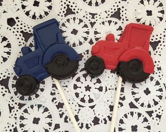 Tractor Chocolate Lollipops (12 qty)- Tractor Favor/Farm Party/Farmer Party/Chocolate Lollipop/John Deere/Boys Birthday Favor/Party Favor