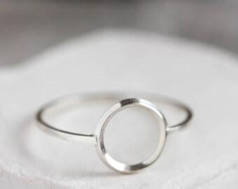 Circle ring - Sterling silver minimal modern ring, full circle ring, karma ring, midi ring