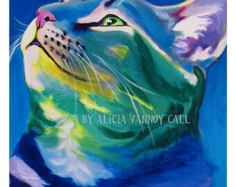 Cat, Pet Portrait, DawgArt, Cat Art, Pet Portrait Artist, Colorful Pet Portrait, Tabby Cat Art, Pet Portrait Painting, Art Prints