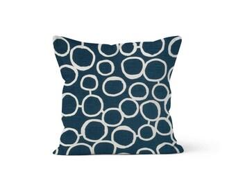 Navy Blue Circles Pillow Cover - Freehand Premier Blue - Lumbar 12 14 16 18 20 22 24 26 Euro - Hidden Zipper Closure