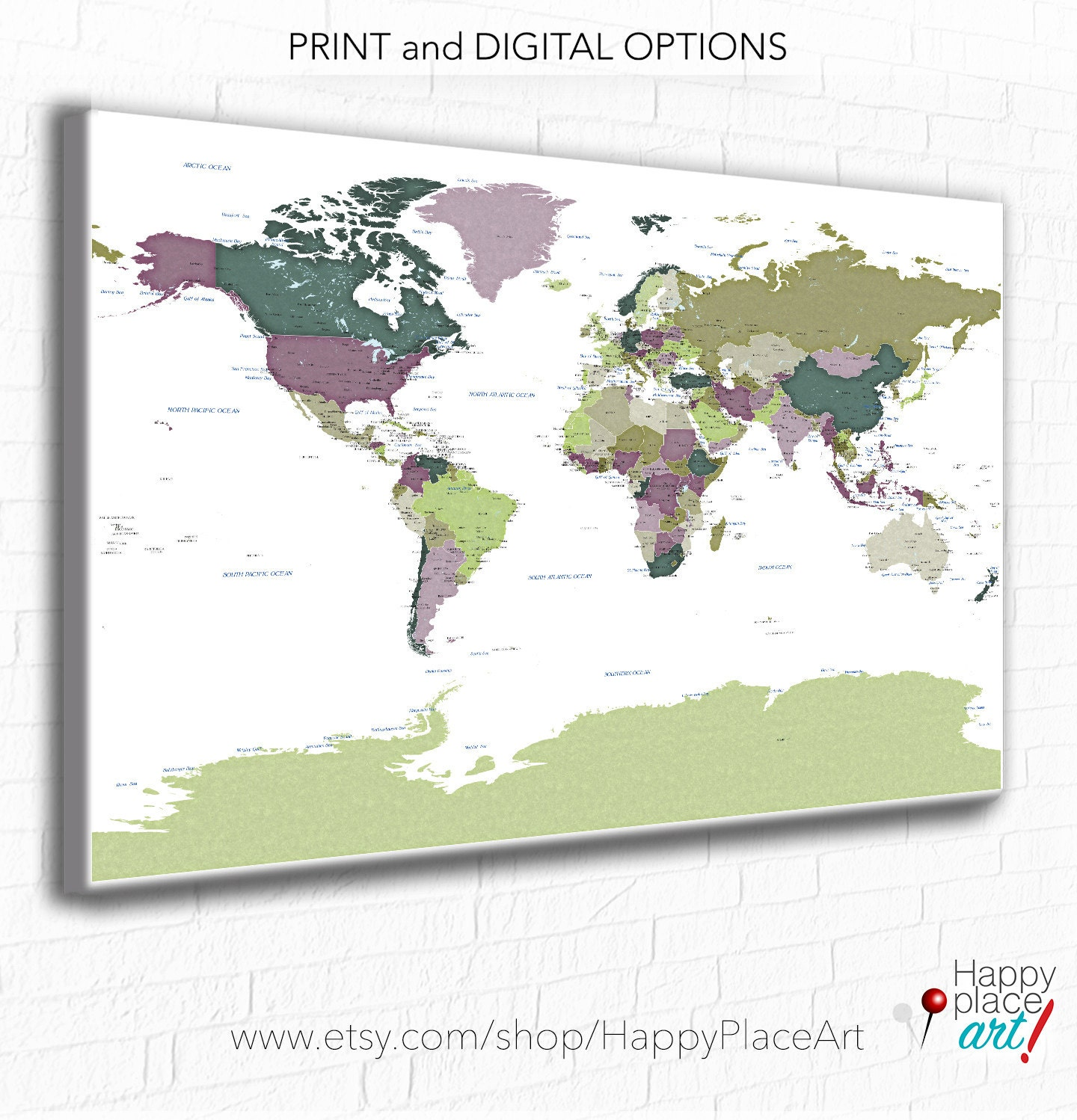 Detailed World map city labels World map print with city