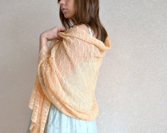 Peach Lace Scarf Linen Shawl Wedding Stole Pastel Bridesmaids Shawl Boho Stole Knitted Scarf Apricot Shawl Beach Weddings Stole Summer Shawl