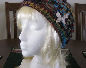 Riverbed Lace Folklore Hand Knit Hat with Removable Butterfly Pin