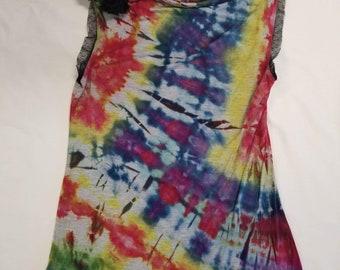 Funky Tie Dye Ladies Tank Top size Small W514