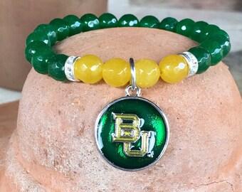 Baylor themed gemstone bracelet. Yoga bracelet with green and yellow jade gemstone faceted beads