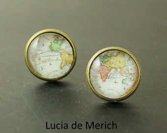 Tiny earrings - Map stud earrings - Vintage map stud earrings -Earrings - World Map coupon code - gift - Black friday - Cyber monday