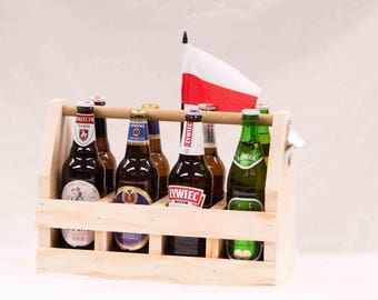 Wood Beer Carrier,  Craft Beer Carrier, Fathers Day Gift, Groomsmen Gift, Beer Carrier with Bottle Opener,