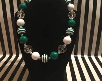 Green and White Chunky Necklace